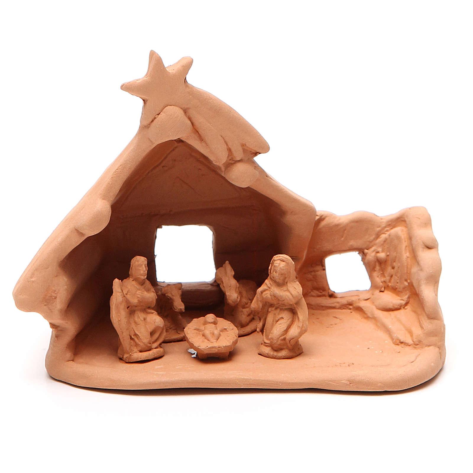 Nativité et cabane rustique terre cuite 11x12x7 cm 4