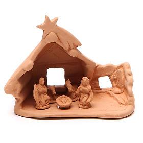 Nativité et cabane rustique terre cuite 11x12x7 cm s1
