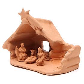 Nativité et cabane rustique terre cuite 11x12x7 cm s2