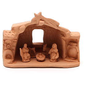 Terracotta Nativity Scene figurines from Deruta: Shed and Nativity natural Terracotta 11x14x7cm