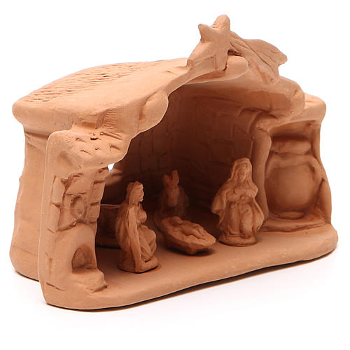 Shed and Nativity natural Terracotta 11x14x7cm 3