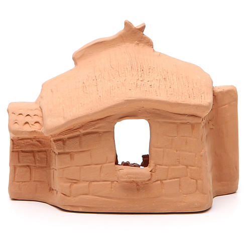 Cabaña y natividad terracota natural 11x14x7 cm 4