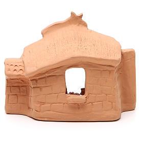 Capanna e natività terracotta naturale 11x14x7 cm s4