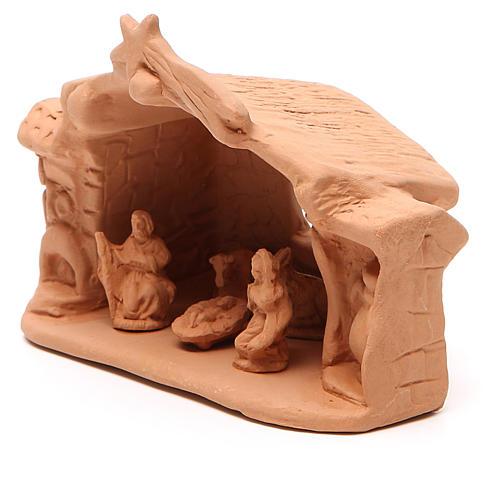 Capanna e natività terracotta naturale 11x14x7 cm 2