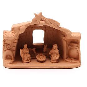 Szopka terakota Deruta: Chata ze Świętą Rodziną terakota 11x14x7 cm