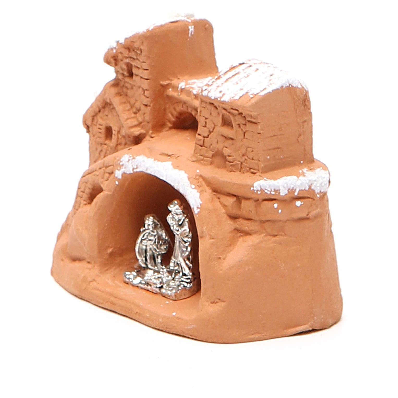 Mini Heilige Familie Terrakotta und Metall 6x7x4cm mit Schnee 4