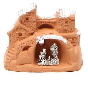 Mini Heilige Familie Terrakotta und Metall 6x7x4cm mit Schnee s1