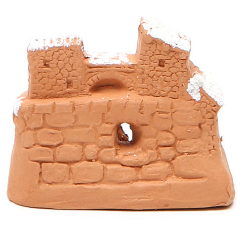 Natividade miniatura terracota neve 6x7x4 cm 4