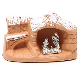 Presépio Terracota Deruta: Natividade em miniatura terracota com neve 5x7x4 cm