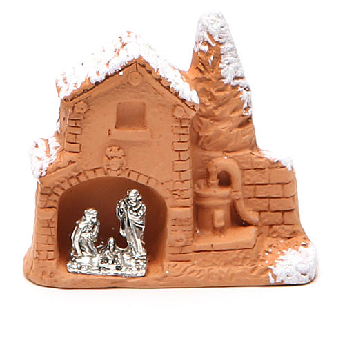 Shed and miniature Nativity terracotta and snow 6x7x3cm 1