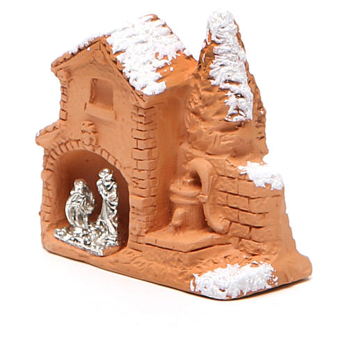 Shed and miniature Nativity terracotta and snow 6x7x3cm 2