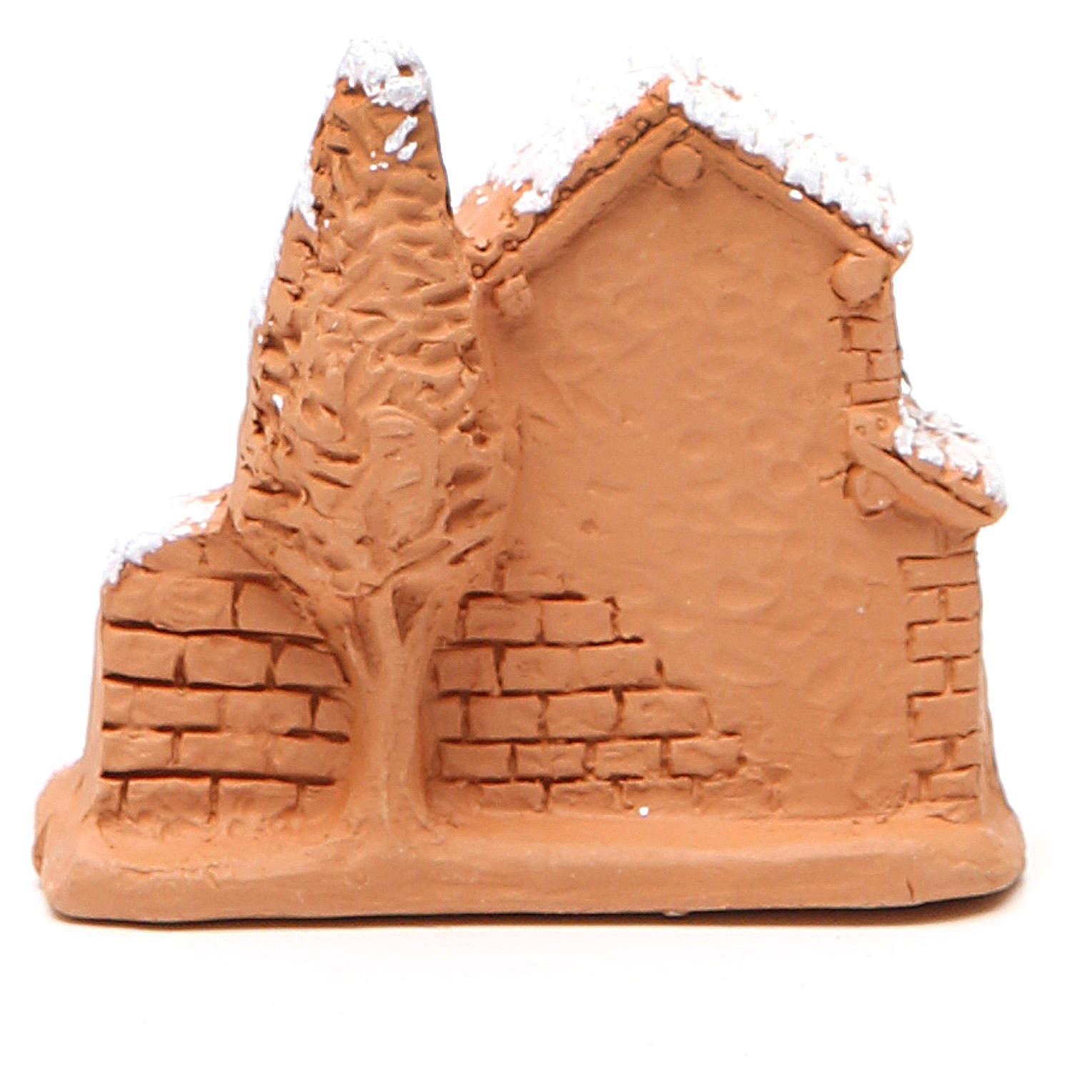Cabane et nativité miniature terre cuite neige 6x7x3 cm 4