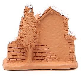 Cabane et nativité miniature terre cuite neige 6x7x3 cm s4