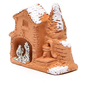 Shed and miniature Nativity terracotta and snow 6x7x3cm s2
