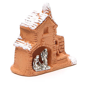Shed and miniature Nativity terracotta and snow 6x7x3cm s3