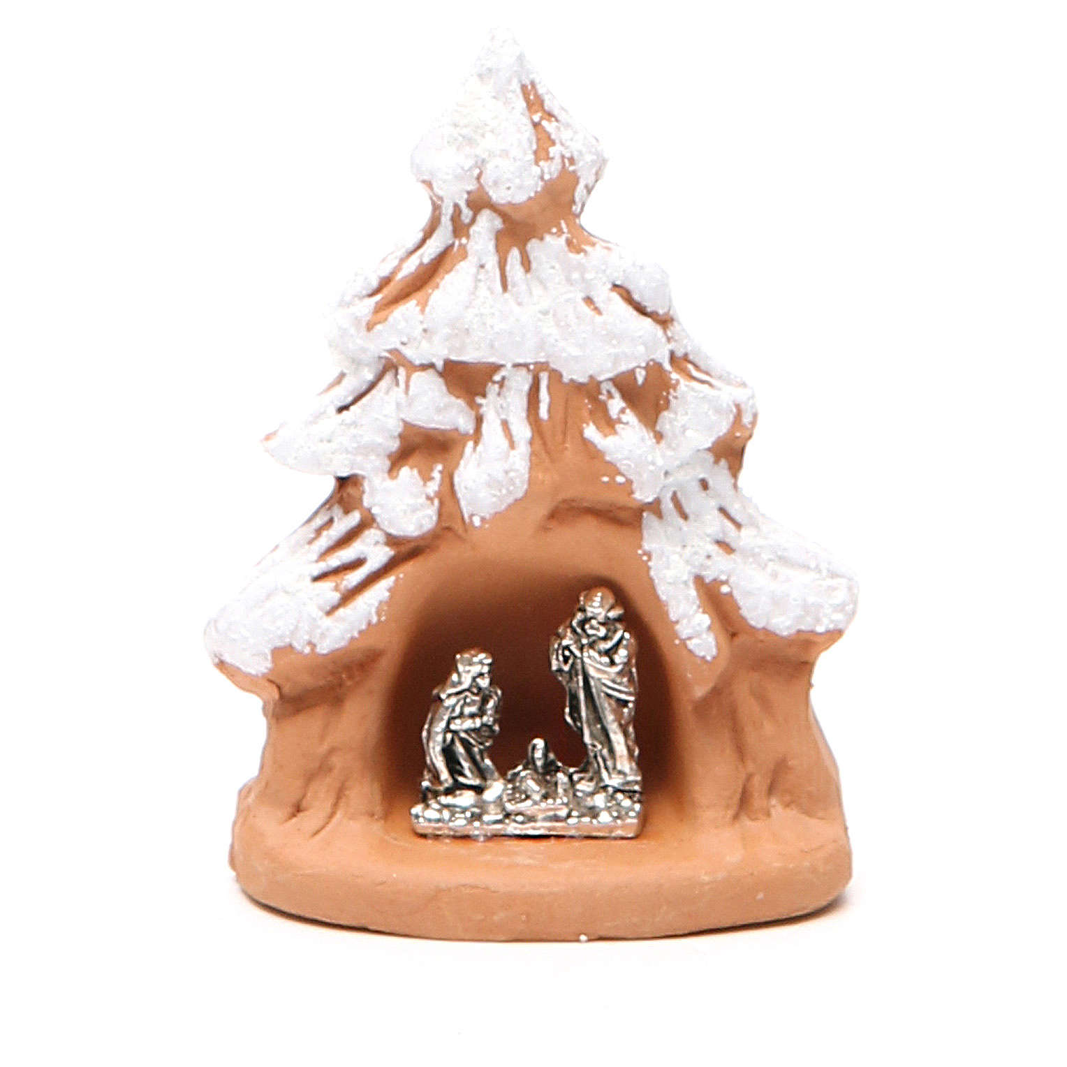Christmas Tree and Nativity in terracotta with snow 7x5x4cm 4