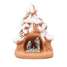 Christmas Tree and Nativity in terracotta with snow 7x5x4cm s1