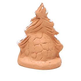 Sapin de Noël et Nativité terre cuite avec neige 7x5x4 cm s4