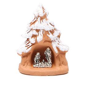 Albero Natale e Natività terracotta con neve h.7x5x4 cm s1