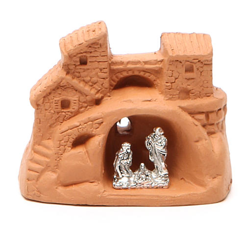 Mini Heilige Familie Terrakotta und Metall 6x7x4cm 1