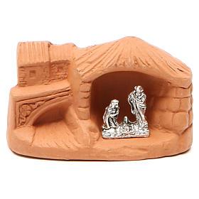 Miniature Nativity natural terracotta 5x4x7cm s1