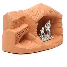 Miniature Nativity natural terracotta 5x4x7cm s3