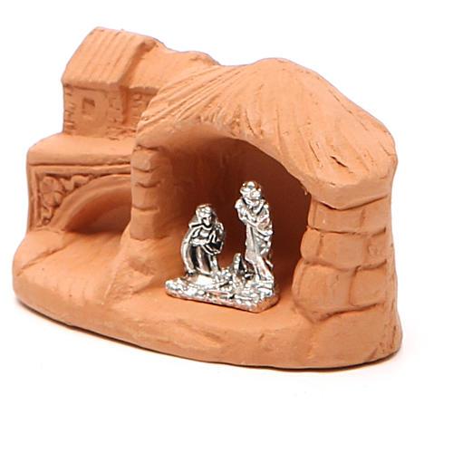 Miniature Nativity natural terracotta 5x4x7cm 2