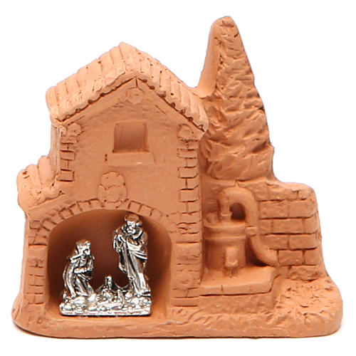 Shack and miniature Nativity natural terracotta 6x7x3cm 1
