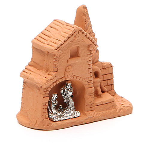 Shack and miniature Nativity natural terracotta 6x7x3cm 3