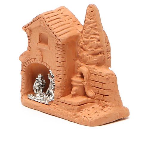 Cabane et nativité miniaturisées terre cuite naturelle 6x7x3 cm 2