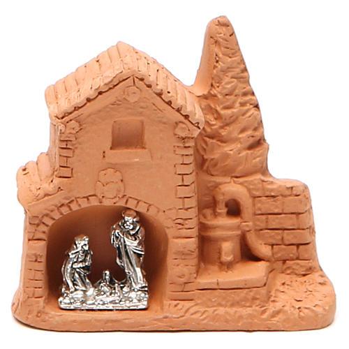 Capanna e natività miniatura terracotta naturale 6x7x3 cm 1