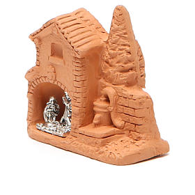 Shack and miniature Nativity natural terracotta 6x7x3cm s2
