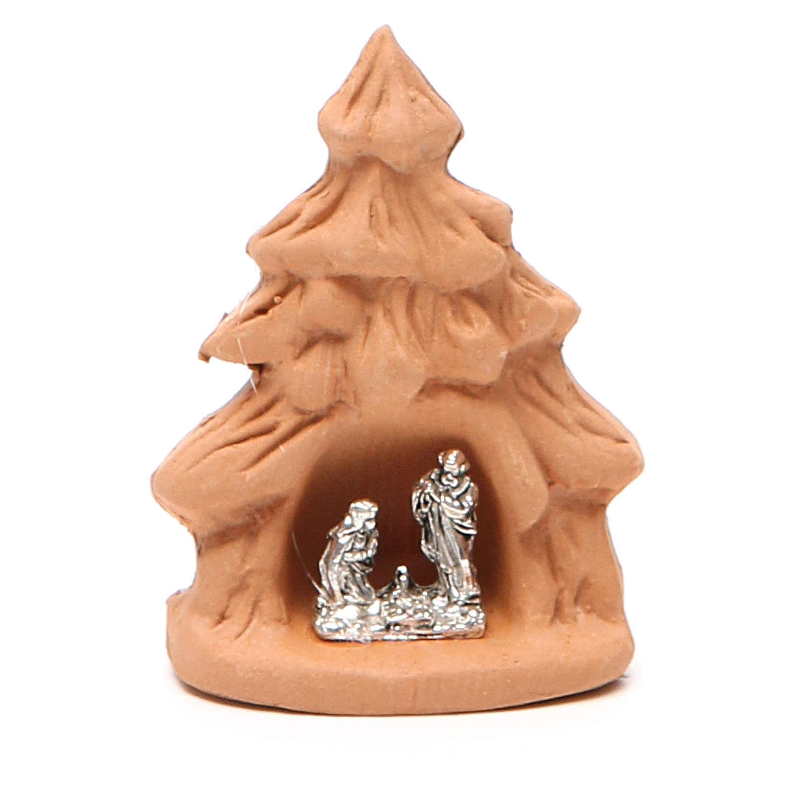 Árbol Navidad y Natividad terracota natural 7x5x4 cm 4