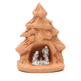 Árbol Navidad y Natividad terracota natural 7x5x4 cm s1