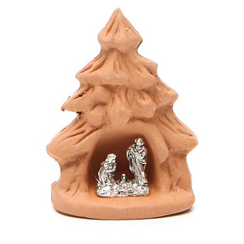 Árbol Navidad y Natividad terracota natural 7x5x4 cm 1