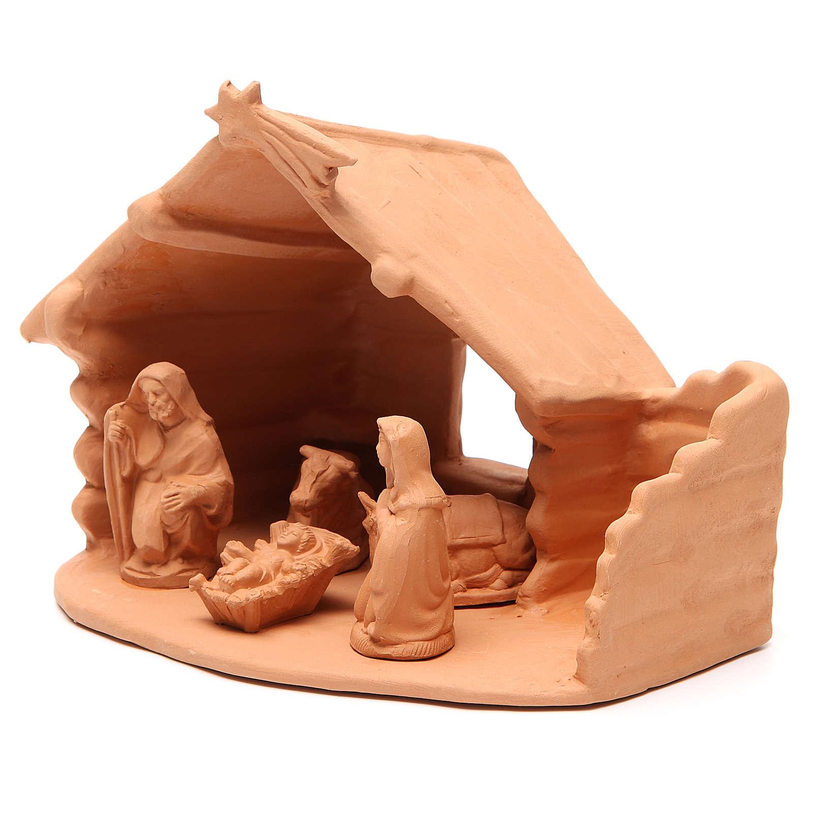 Natività con capanna terracotta 20x22x16 cm 4