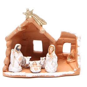 Presépio Terracota Deruta: Natividade em terracota pintada e neve h 15x16x9 cm