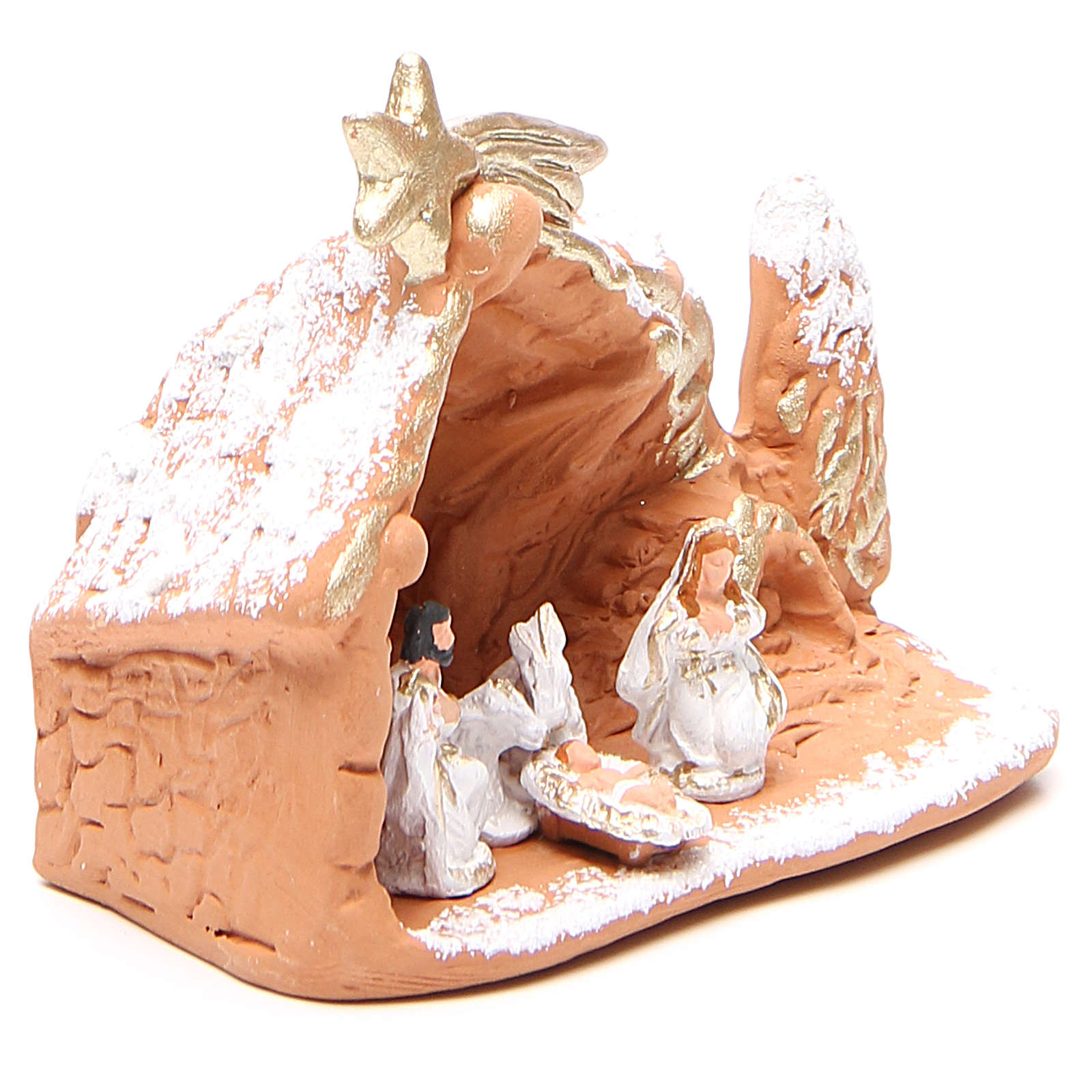 Nativité terre cuite avec décor 10x12x6 cm 4
