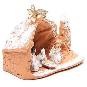 Nativité terre cuite avec décor 10x12x6 cm s3