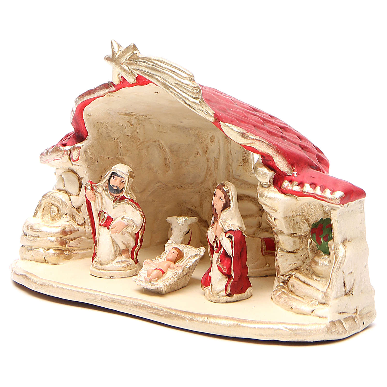 Nativity with shed terracotta red 15x20x11cm 4