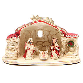 Nativity with shed terracotta red 15x20x11cm s1