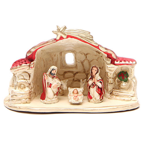 Nativity with shed terracotta red 15x20x11cm 1