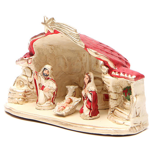 Nativity with shed terracotta red 15x20x11cm 2