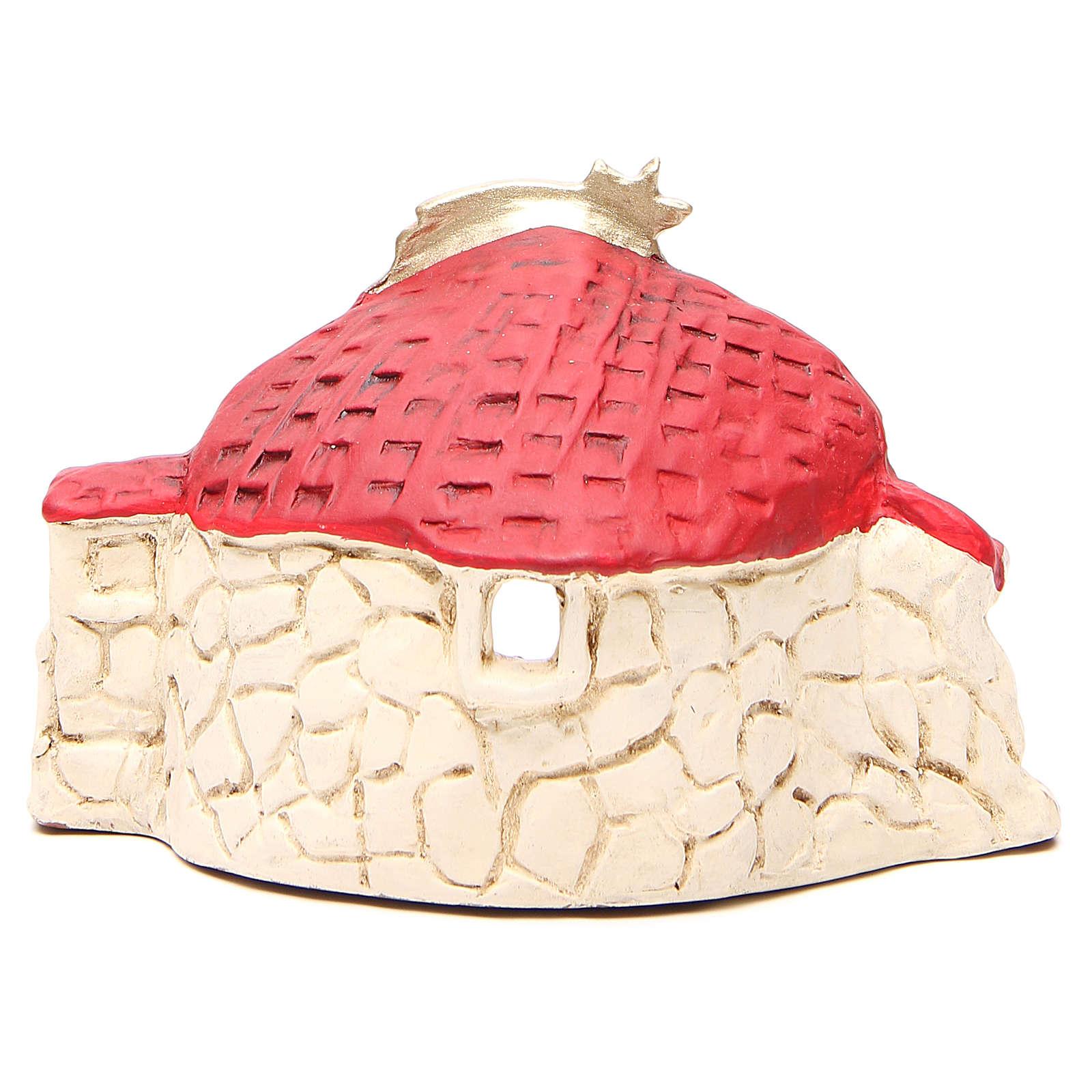 Natività con capanna terracotta rosso h. 15x20x11 cm 4