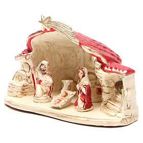 Natività con capanna terracotta rosso h. 15x20x11 cm s2