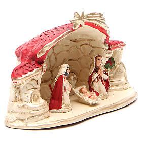 Natività con capanna terracotta rosso h. 15x20x11 cm s3
