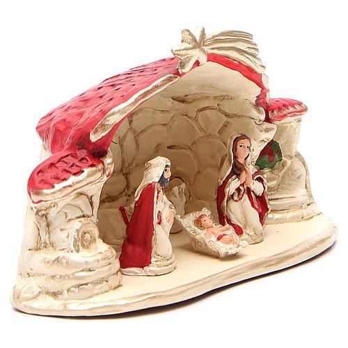 Natività con capanna terracotta rosso h. 15x20x11 cm 3