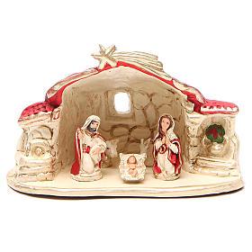 Presépio Terracota Deruta: Natividade com cabana terracota vermelha h 15x20x11 cm