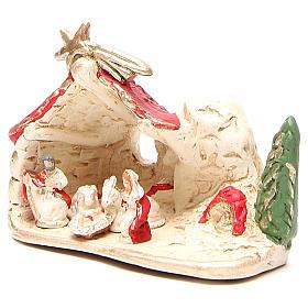 Nativité et cabane terre cuite décor rouge 10x12x6 cm s2