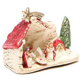 Nativité et cabane terre cuite décor rouge 10x12x6 cm s3